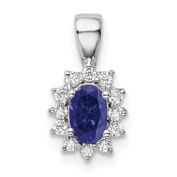Sterling Silver Rhodium-plated CZ/Lab Cr Sapphire Pendant