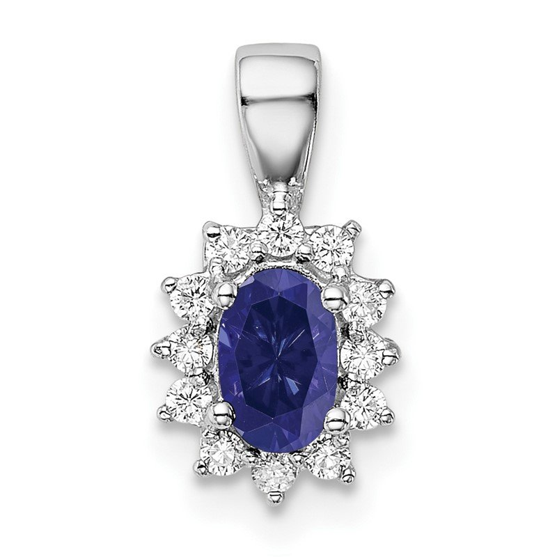 Quality Gold Sterling Silver Rhodium-plated CZ/Lab Cr Sapphire Pendant
