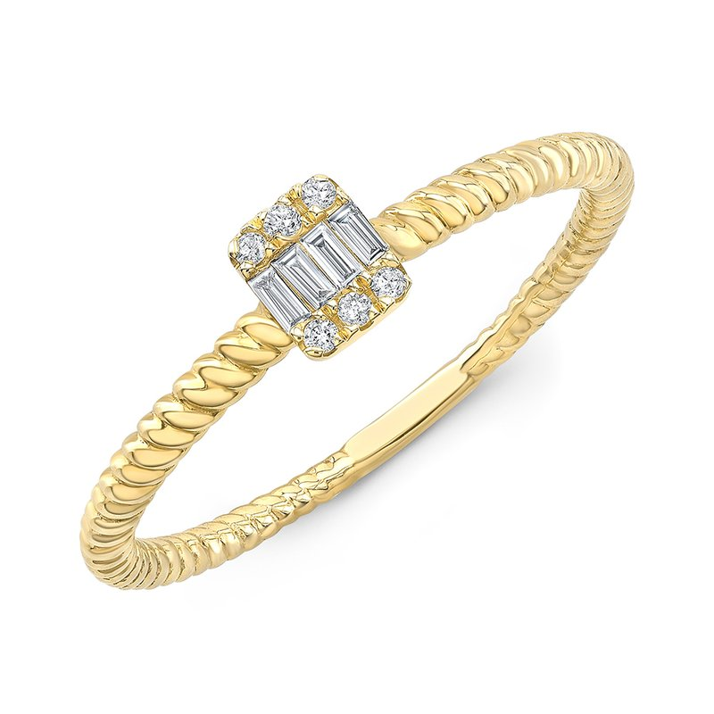 Yellow Gold Petite Baguette Cluster Ring