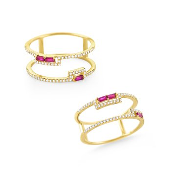 Ruby & Diamond Double Band Ring Set in 14 Kt. Gold