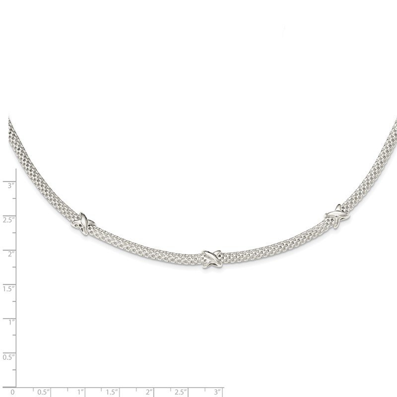 Lester Martin Online Collection Sterling Silver Mesh with X's w/1in extension Necklace