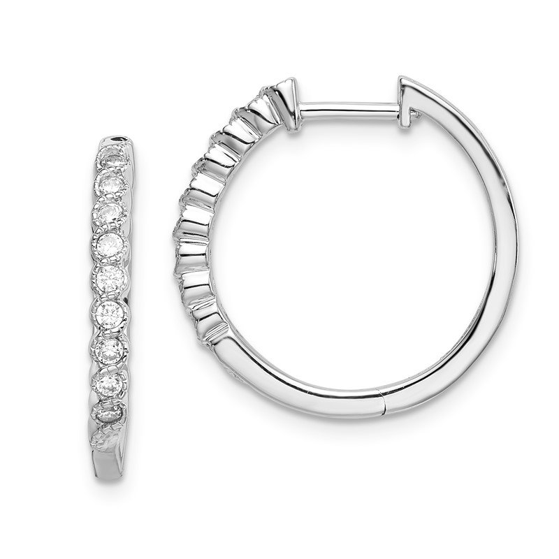 Quality Gold 14k White Gold Polished Diamond Hinged Hoop Earrings