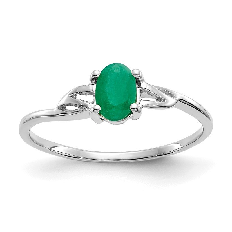 Quality Gold 10k White Gold Polished Geniune Emerald Birthstone Ring