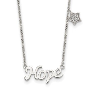 Sterling Silver Rhodium-plated HOPE CZ Star 16in w/2 in ext Necklace