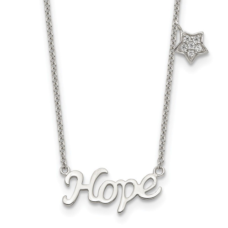 Quality Gold Sterling Silver Rhodium-plated HOPE CZ Star 16in w/2 in ext Necklace