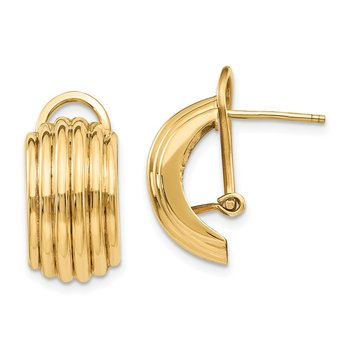 14k Polished Fancy Omega Back Post Earrings