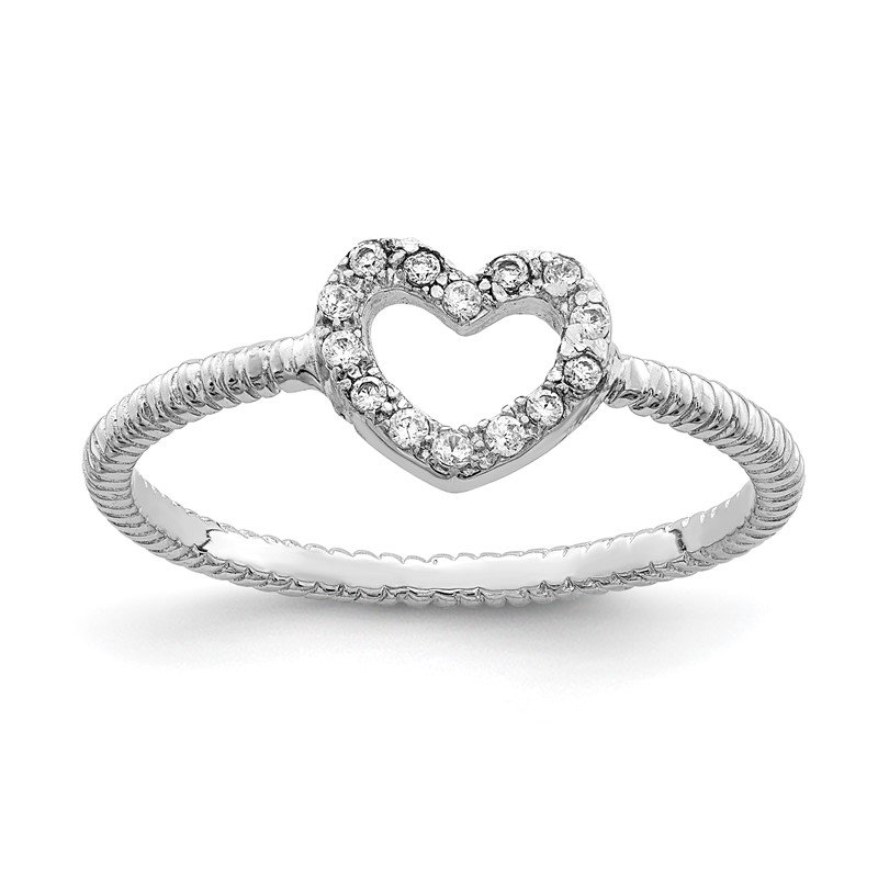 Quality Gold Sterling Silver Rhodium-plated Polished & Textured CZ Heart Ring