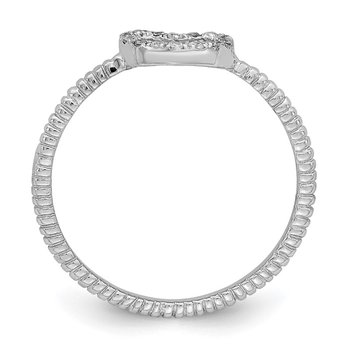 Sterling Silver Rhodium-plated Polished & Textured CZ Heart Ring