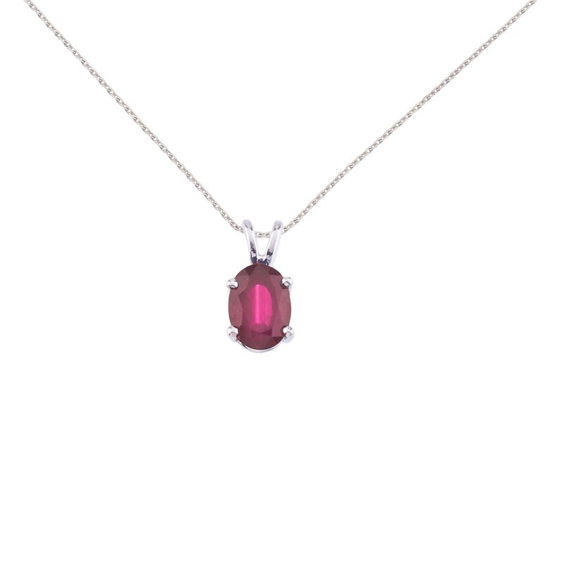 Color Merchants 14k Yellow Gold Oval Ruby Pendant