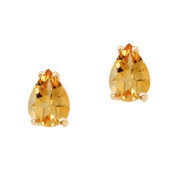 14k Yellow Gold Pear Shaped Citrine Earrings