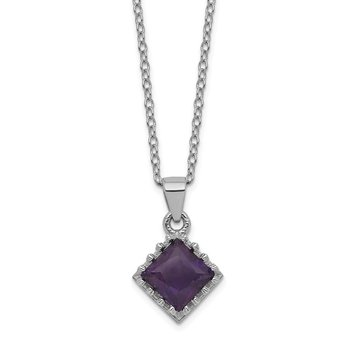Sterling Silver Rhodium-plated 18inch Polished Amethyst Necklace