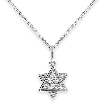 Diamond Star of David in 14K White Gold with 9 Diamonds Weighing  .13ct tw