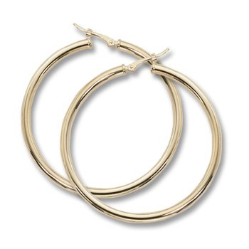 14kt Yel Large Tube Hoop Earrings