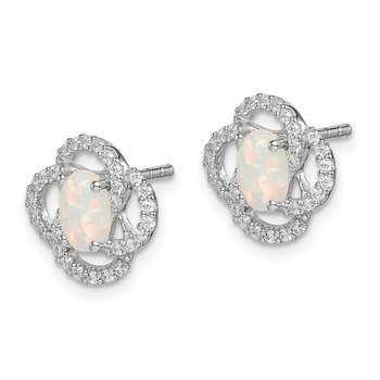 Sterling Silver Rhodium Plated CZ and Lab Created Opal Earrings