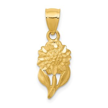 14k Satin Diamond-cut Sunflower Pendant
