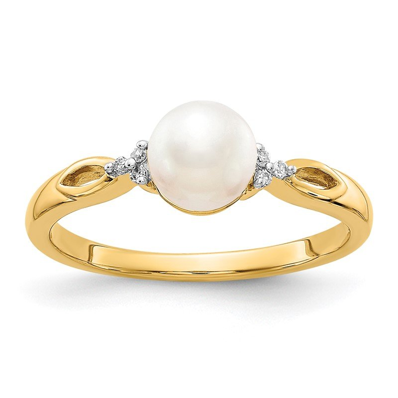 Quality Gold 14k FW Cultured Pearl and Diamond Ring