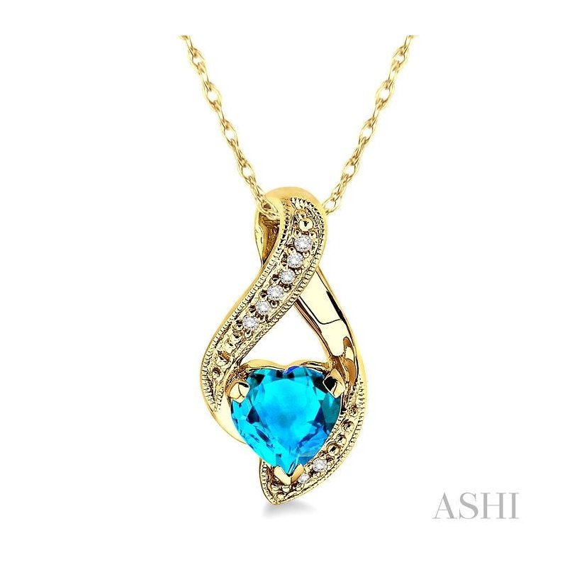 ASHI heart shape gemstone & diamond pendant