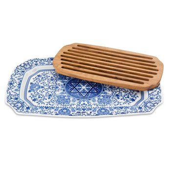 Challah Tray with Wood Insert