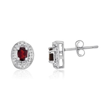 14k White Gold Garnet Earrings with Diamonds