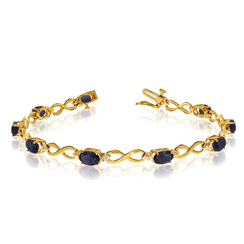 Color Merchants 10K Yellow Gold Oval Sapphire and Diamond Bracelet