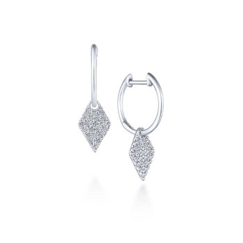 14k White Gold Kite Shaped Diamond Drop Earrings