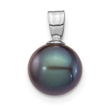 14K White Gold 8-9mm Black Round Freshwater Cultured Pearl Pendant
