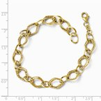 Leslie's Leslie's 14K Polished and Textured Fancy Link Bracelet