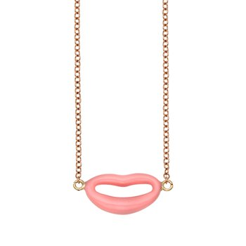 14K Gold Italian Kiss Pink Enamel Necklace