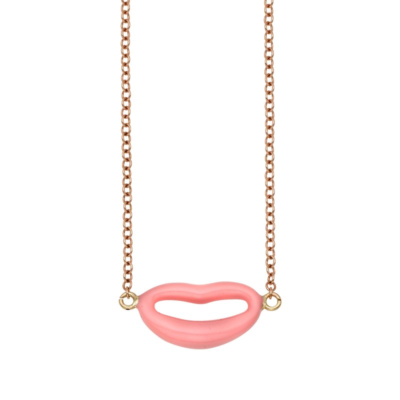 Royal Chain 14K Gold Italian Kiss Pink Enamel Necklace