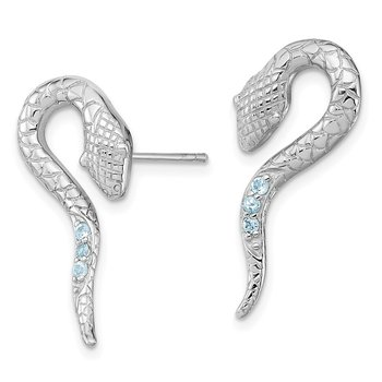 Sterling Silver Rhodium-plated w/Blue Topaz Snake Post Earrings