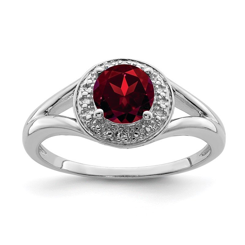 Quality Gold Sterling Silver Rhodium-plated Diam. & Garnet Ring