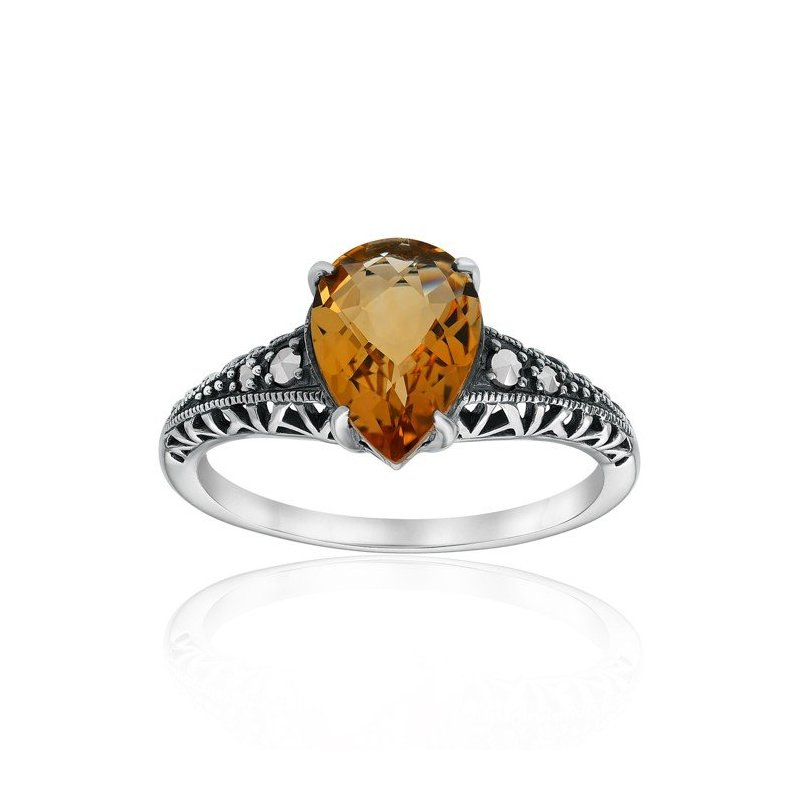 LARUS Jewelry Pear-shaped Citrine Ring