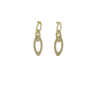 18KT YELLOW GOLD OVAL LINK DROP EARRINGS
