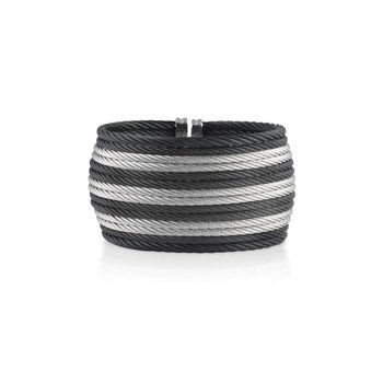 Black &  Grey Striped Cable Oversized Cuff with 18kt Yellow Gold
