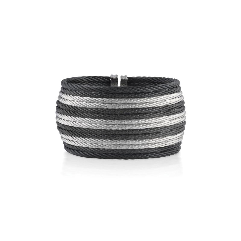 ALOR Catalog Black &  Grey Striped Cable Oversized Cuff with 18kt Yellow Gold