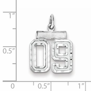 Sterling Silver Rhodium-plated Small Diamond-cut #09 Charm