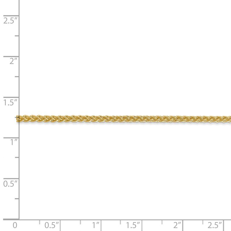 Quality Gold 14k 2mm Semi-Solid Wheat Chain Anklet