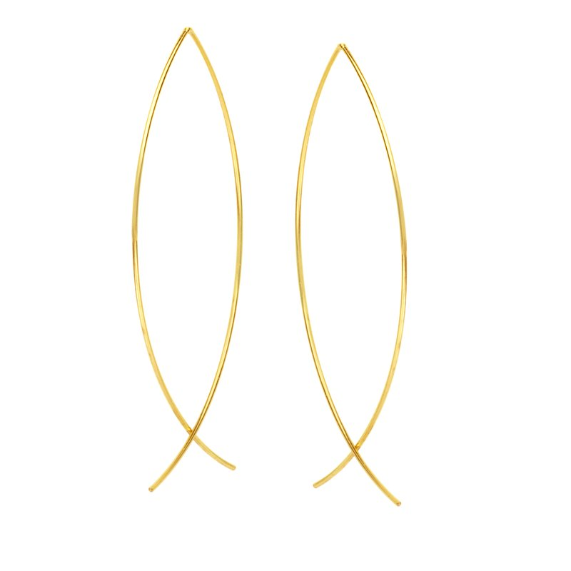 Color Merchants 14K Yellow Gold Threader Wire Earrings