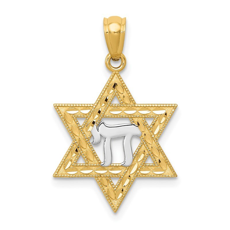 Quality Gold 14k w/Rhodium Star of David w/Chai Pendant