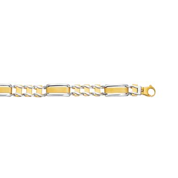 14K Two-tone Gold Railroad Link Chain