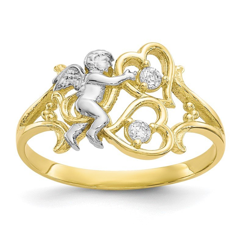 Quality Gold 10k & Rhodium CZ Angel w/Hearts Ring