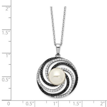 Sterling Silver Majestik Rh-plated 10-11mm Shell Blk and Wht CZ Necklace