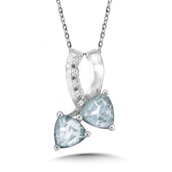Trillion-Cut Aquamarine and Diamond Bypass Pendant