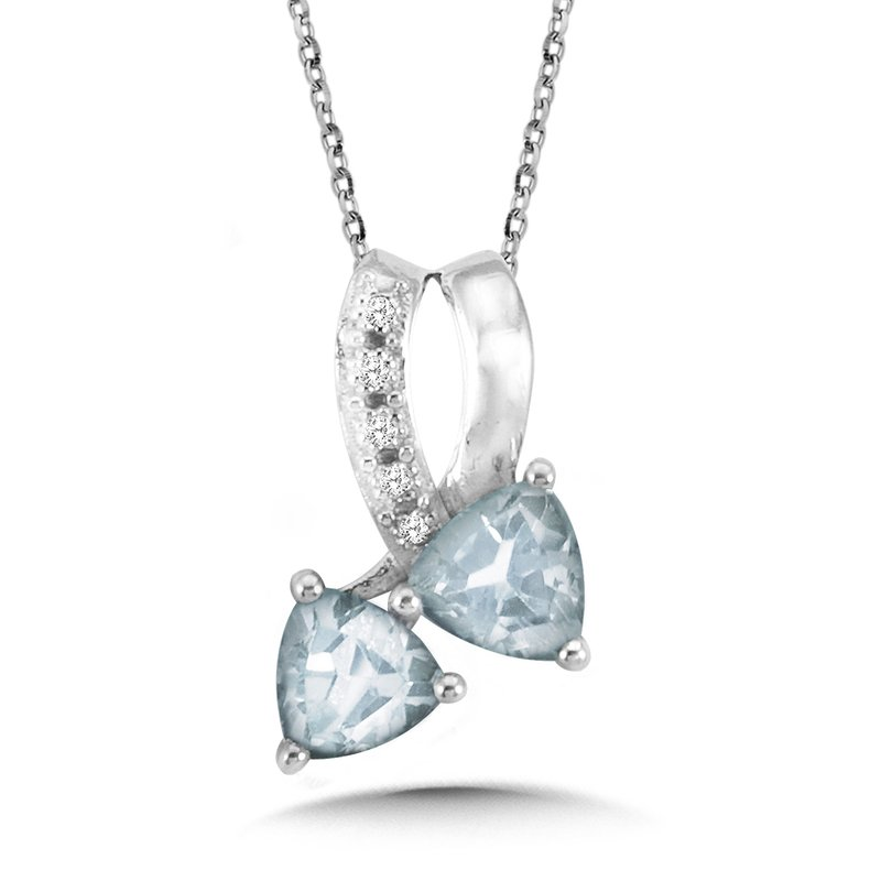 SDC Creations Trillion-Cut Aquamarine and Diamond Bypass Pendant