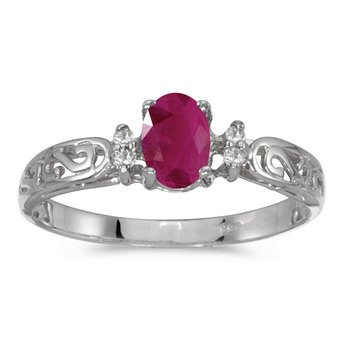 14k White Gold Oval Ruby And Diamond Filagree Ring