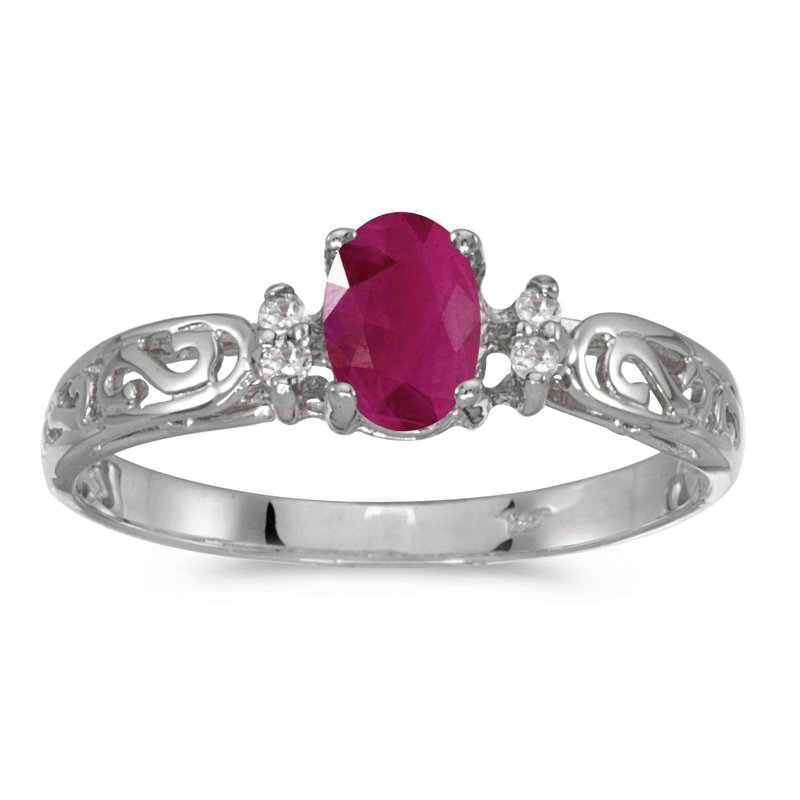 Color Merchants 14k White Gold Oval Ruby And Diamond Filagree Ring