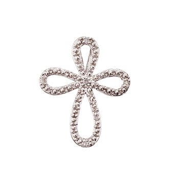 14K White Gold Diamond Open Cross Pendant