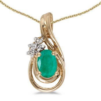 14k Yellow Gold Oval Emerald And Diamond Teardrop Pendant