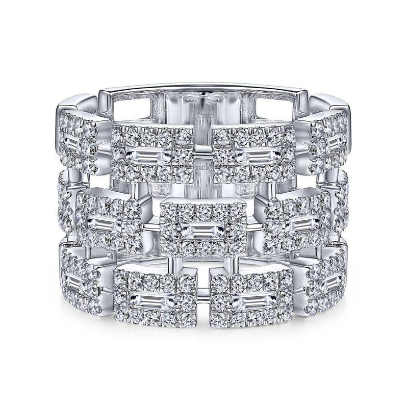 Gabriel Fashion 14K White Gold Layered Wide Band Diamond Ring