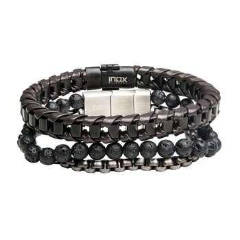 Brown Leather and Gun Metal Bold Box Lava Bead Stackable Bracelets